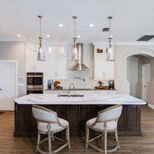 オーランドの大きいビーチスタイルのおしゃれなキッチン (シェーカースタイル扉のキャビネット、珪岩カウンター、シルバーの調理設備の、クッションフロア、茶色い床、アンダーカウンターシンク、白いキャビネット、マルチカラーのキッチンパネル、白いキッチンカウンター) の写真