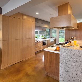 Mid Sized Midcentury Modern Kitchen Pantry Designs 1960s Galley Concrete Floor