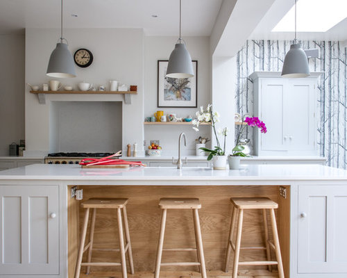 Large Scandinavian Eat In Kitchen Photos   Inspiration For A Large  Scandinavian L Shaped