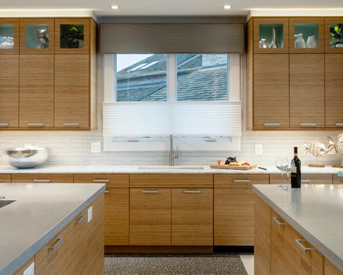 bamboo kitchen cabinets. Example of a trendy kitchen design in Baltimore with flat panel cabinets  and concrete countertops Bamboo Kitchen Cabinets Houzz
