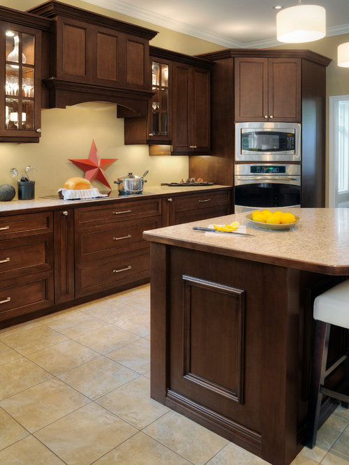 Kitchen with Dark Wood Cabinets and Laminate Countertops Design Ideas & Remodel Pictures   Houzz