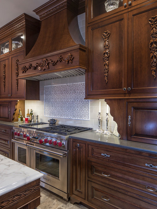 Elegant kitchen photo in Baltimore with recessed panel cabinets  dark wood gray Kitchen Hood Design Houzz