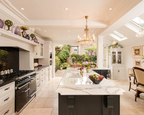large traditional open concept kitchen ideas example of a large classic galley travertine floor open - Glass Sheet Kitchen Design