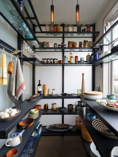 example of a trendy ushaped kitchen pantry design in san francisco with open cabinets