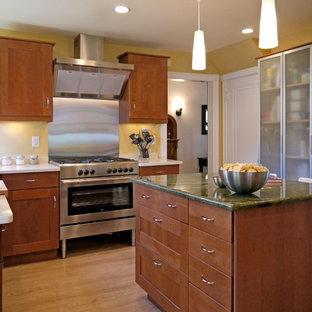 Foto de cocina contemporánea con encimera de granito, armarios con paneles lisos, puertas de armario de madera en tonos medios, salpicadero metalizado, salpicadero de metal, electrodomésticos de acero inoxidable y encimeras verdes