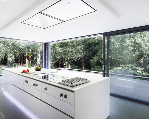 Modern Kitchen Idea In Hampshire With Flat Panel Cabinets And White Cabinets