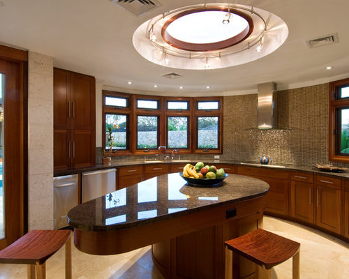 Good Example Of A Mid Sized Trendy U Shaped Travertine Floor Enclosed Kitchen  Design In