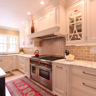 Accent tile behind range paired with 3x6 subway tile