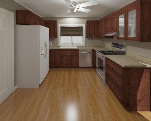 Kitchen Remodel with Adams Cherry Cabinets, Wilsonart Sandy Topaz ...
