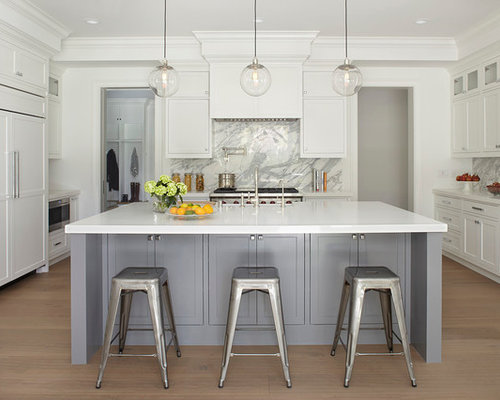Gray and white kitchens houzz for White and grey kitchen designs