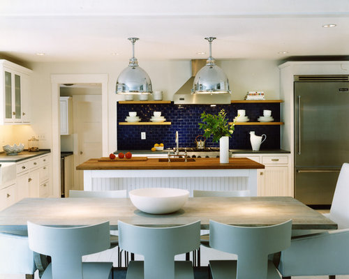 Inspiration For A Beach Style Galley Eat In Kitchen Remodel In DC Metro  With Subway