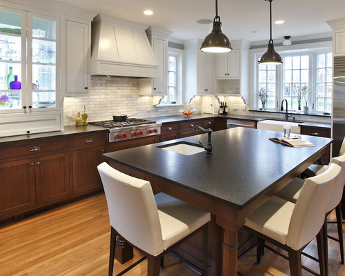 Large Contemporary L Shaped Light Wood Floor Eat In Kitchen Idea In  Minneapolis With