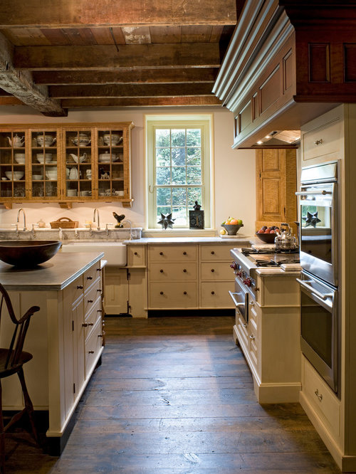 Cream Kitchen Cabinets Part - 28: Example Of A Large Country L-shaped Dark Wood Floor And Brown Floor Eat-