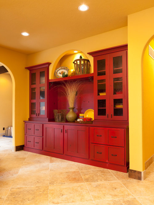 Southwestern kitchen with red cabinets design ideas for Southwestern kitchen ideas