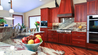 African Influence Transitional Entertaining Kitchen