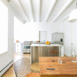 Contemporary eat-in kitchen photos - Trendy galley medium tone wood floor eat-in kitchen photo in New York with flat-panel cabinets, stainless steel cabinets, stainless steel appliances and an island