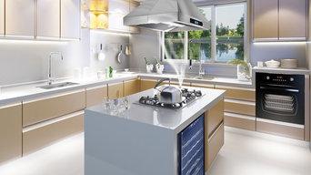 AKDY Z10A3IS Island Range Hood in Beautiful Kitchen