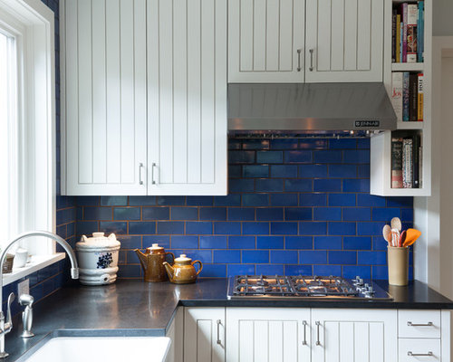 Blue White Tile Backsplash Houzz