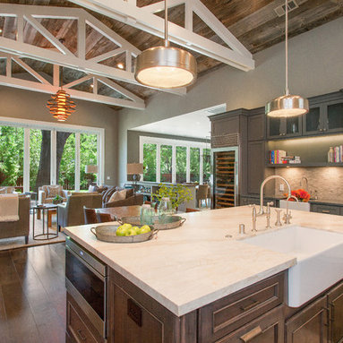 Farmhouse style with an industrial, contemporary feel.