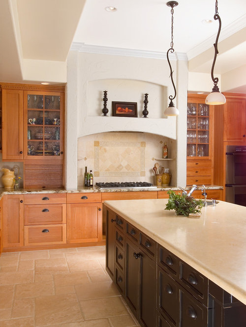 Example Of A Large Classic U Shaped Ceramic Floor Enclosed Kitchen Design  In San Francisco
