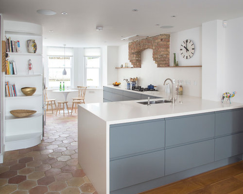 Inspiration for a contemporary kitchen remodel in London Charcoal Kitchen Cabinets  Houzz