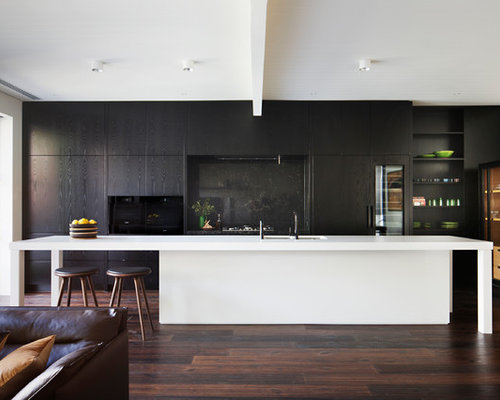 Modern Galley Open Plan Kitchen In Melbourne With A Double Bowl Sink, Flat