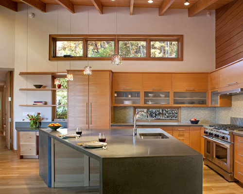Inspiration For A Modern Kitchen Remodel In Other With Concrete Countertops  And Stainless Steel Appliances