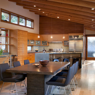 Eat-in kitchen - modern eat-in kitchen idea in Other with concrete countertops