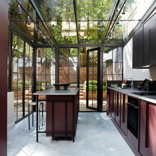Inspiration for a small contemporary kitchen in London.