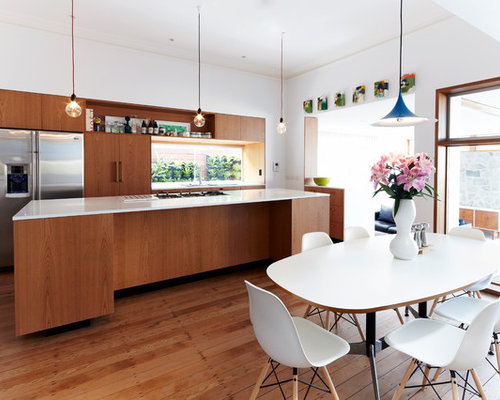 Mid Sized Contemporary L Shaped Eat In Kitchen In Sydney With Flat  Part 86