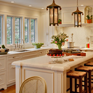 Shabby Chic Style Kitchen Remodeling   Example Of A Cottage Chic Kitchen  Design In New