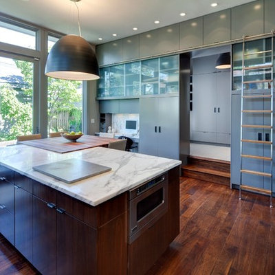 Kitchen - contemporary kitchen idea in Chicago with flat-panel cabinets
