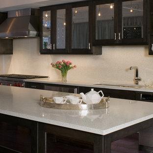 Moderne Wohnküche mit Unterbauwaschbecken, Glasfronten, dunklen Holzschränken, Arbeitsplatte aus Recyclingglas, Küchenrückwand in Weiß, Rückwand aus Zementfliesen und Küchengeräten aus Edelstahl in New York