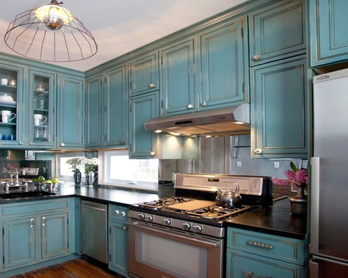 Interior Antique Black Kitchen Cabinets antique black cabinet houzz elegant l shaped enclosed kitchen photo in new york with stainless steel appliances blue