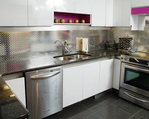 inspiration for a small contemporary u shaped porcelain floor enclosed kitchen remodel in ottawa with aluminum backsplash   houzz  rh   houzz com