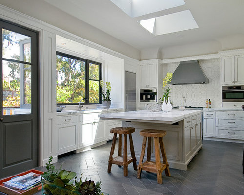 Inspiration For A Transitional Gray Floor Enclosed Kitchen Remodel In San Francisco With Recessed Panel