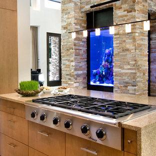 Moderne Küche mit hellen Holzschränken, Küchengeräten aus Edelstahl und Kücheninsel in Orlando