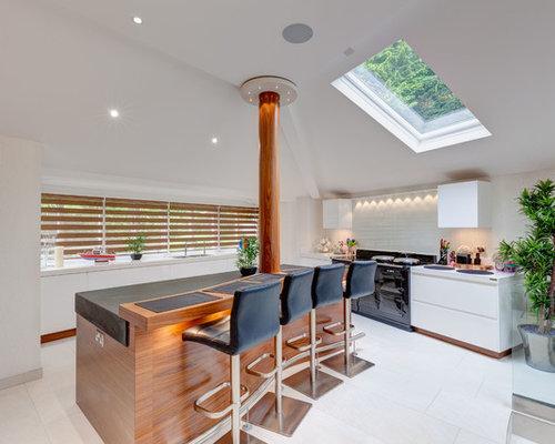 affordable cette image montre une cuisine design de taille moyenne avec un placard porte plane. Black Bedroom Furniture Sets. Home Design Ideas
