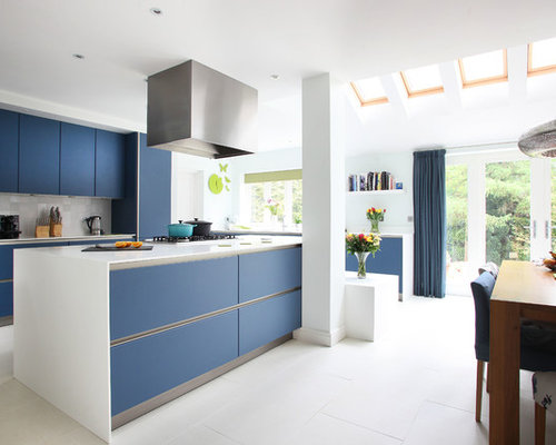 Modern Kitchen with Blue Cabinets Design Ideas & Remodel ...