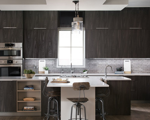 Contemporary Kitchen Photos   Contemporary L Shaped Dark Wood Floor Kitchen  Idea In Other With