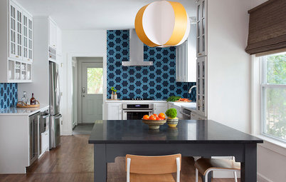 This Kitchen's Geometric Blue Tile Steals the Show