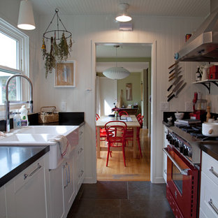 Example of a cottage galley enclosed kitchen design in San Francisco with a drop-in sink, colored appliances, white cabinets, recessed-panel cabinets and no island