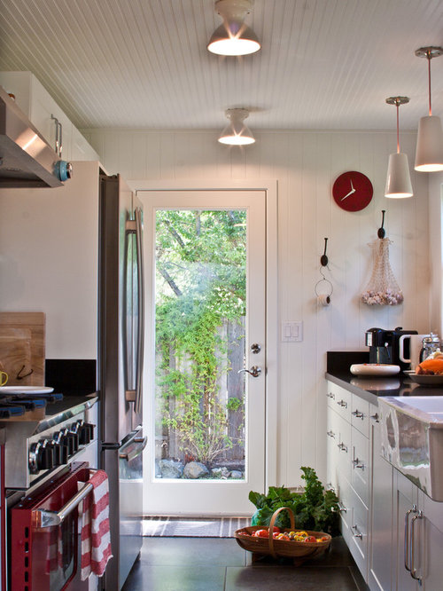 Farmhouse Galley Enclosed Kitchen Idea In San Francisco With A Sink Colored Appliances And