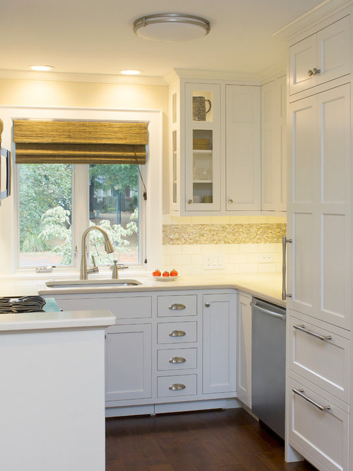 Example Of A Transitional U Shaped Kitchen Design In Raleigh With An  Undermount Sink,