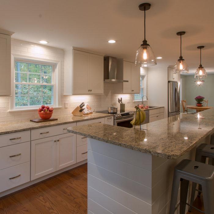 An island renovation, a white kitchen with a dash of shiplap!