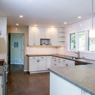 サンフランシスコの大きいトランジショナルスタイルのおしゃれなキッチン (アンダーカウンターシンク、シェーカースタイル扉のキャビネット、白いキャビネット、亜鉛製カウンター、白いキッチンパネル、サブウェイタイルのキッチンパネル、シルバーの調理設備の、濃色無垢フローリング、茶色い床) の写真