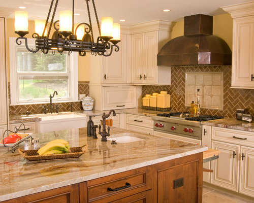 Brown backsplash home design ideas pictures remodel and for Rustic yellow kitchen