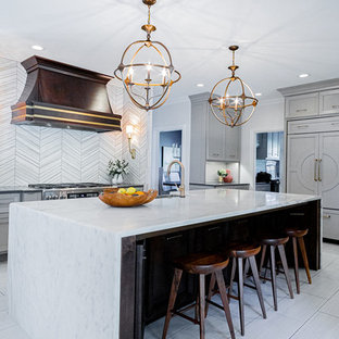 Large transitional kitchen designs - Kitchen - large transitional u-shaped porcelain tile and gray floor kitchen idea in Other with a farmhouse sink, gray cabinets, marble countertops, gray backsplash, marble backsplash, stainless steel appliances, an island and multicolored countertops