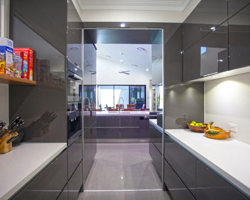 Inspiration For A Large Contemporary Galley Eat In Kitchen In Brisbane With  A Double