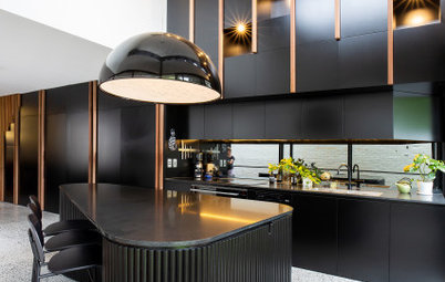 Room of the Week: A Black & Dramatic Kitchen with a Joinery Wall